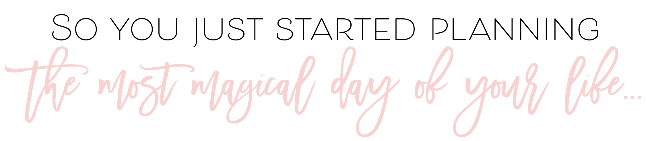 So you just started planning the most magical day of your life...