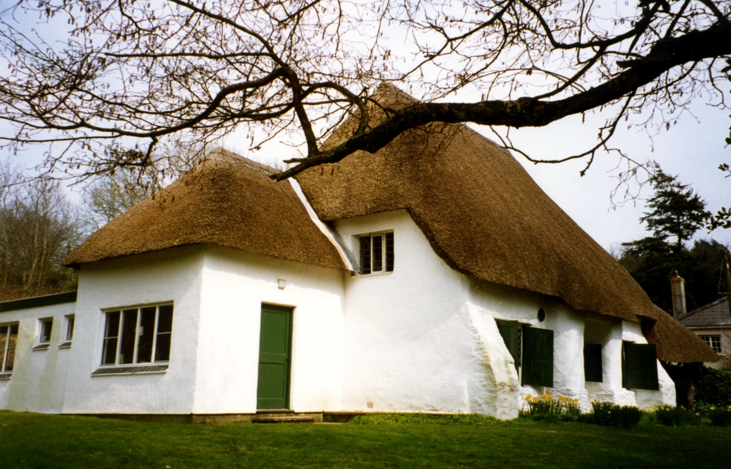 This is the Quaker Meeting House at Come-to-Good, near Feock, Cornwall, built in 1709-10 of cob and thatch and the loft ( gallery ) added in 1717.
