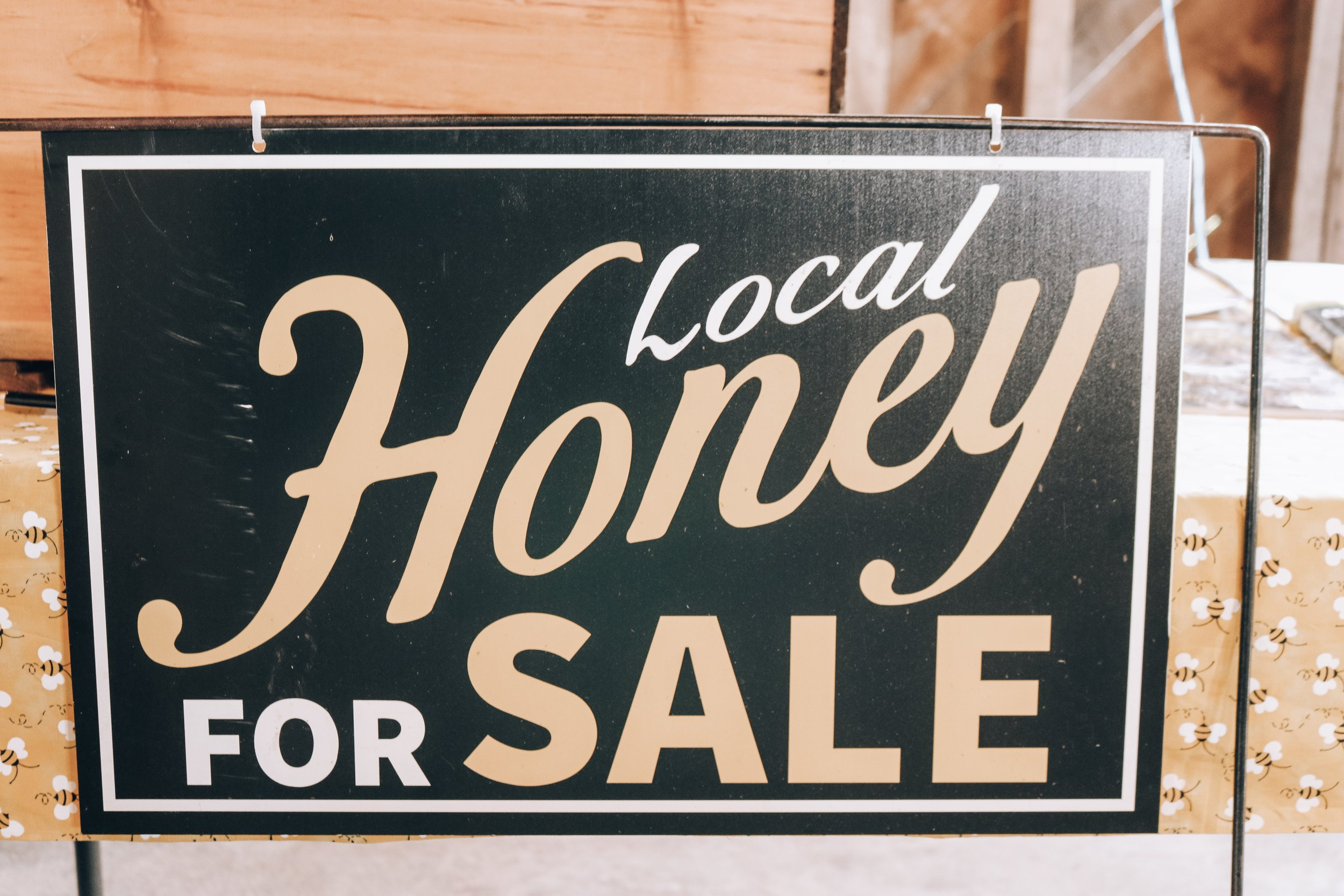 Local Honey for Sale Sign.JPG