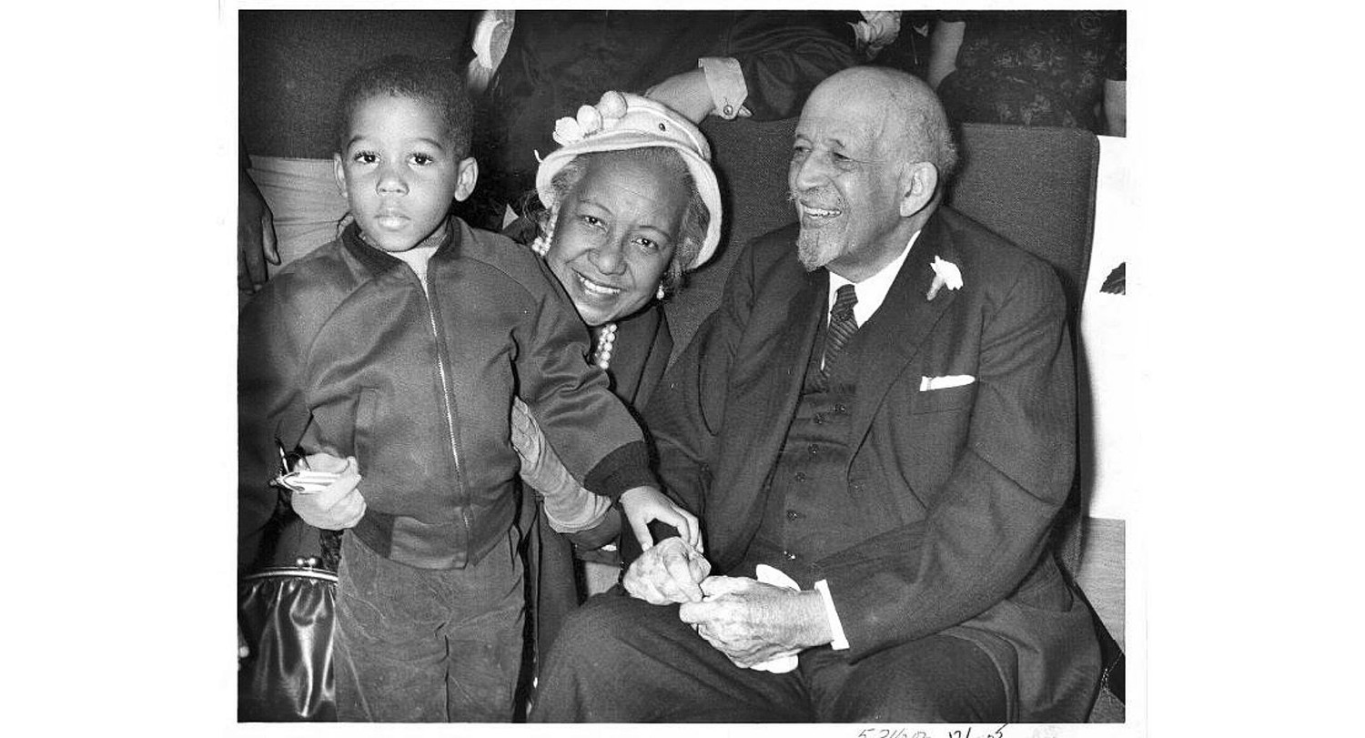 W. E. B. Du Bois with Alice Crawford, his cousin, and Arthur McFarlane, his great grandson, at New York airport before leaving for Ghana in 1961.  PHOTO PROVIDED BY SPECIAL COLLECTIONS, UMASS AMHERST LIBRARIES