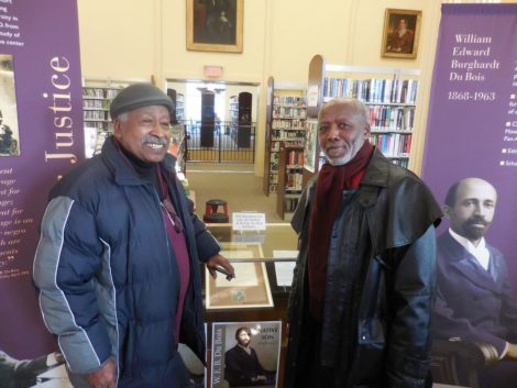 Attending the opening exhibit at the Mason Library were Clinton Church Restoration Chairman Wray Gunn (left) and Dennis Powell, who heads the Berkshire chapter of the NAACP. Photo: Terry Cowgill