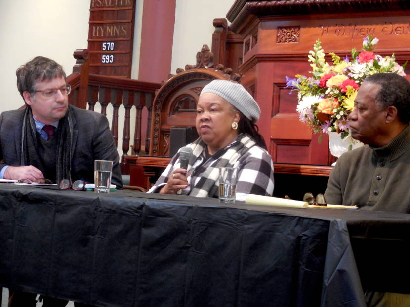 Frances Jones-Sneed (center) of MCLA discourses of the life and legacy of Dr. Martin Luther King Jr. Listening, at her right, is Bard College at Simon's Rock Prof. Justin Jackson. To her left is Wesley Brown, visiting faculty member at Simon's Rock.