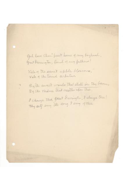 W. E. B. Du Bois 's Ode to Great Barrington in 1891
