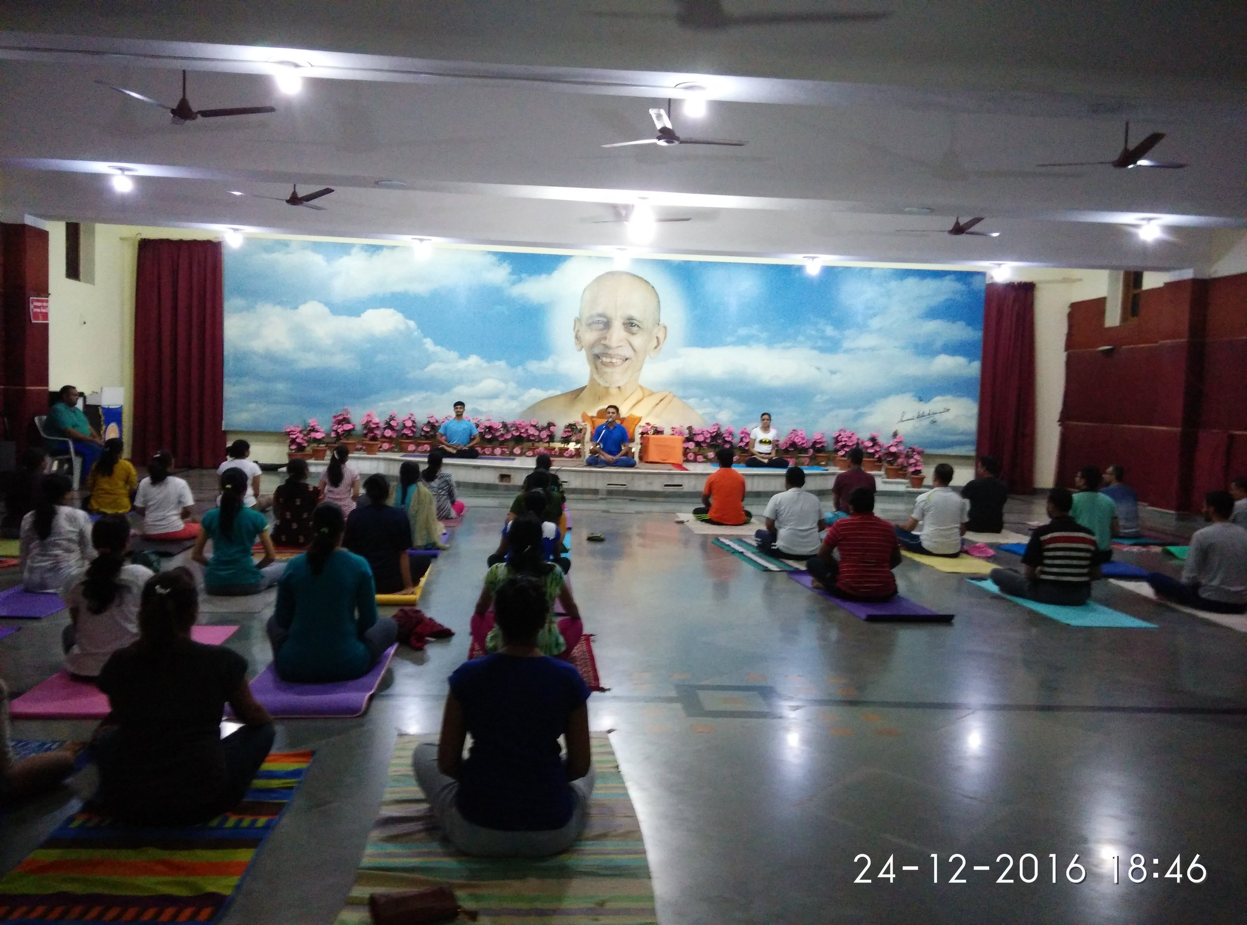 Meditation in Beginners' batch in the feet of H.H. Shri Swami Chidananda, at Dhyan khand, Sivananda Ashram, Dec 2016