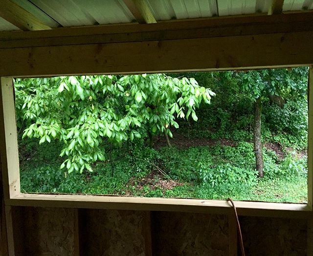 View from my future guitar bench, unfortunately the rain doesn't show up in the photo.