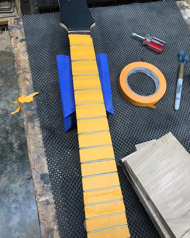 Fret work and spraying finish today!