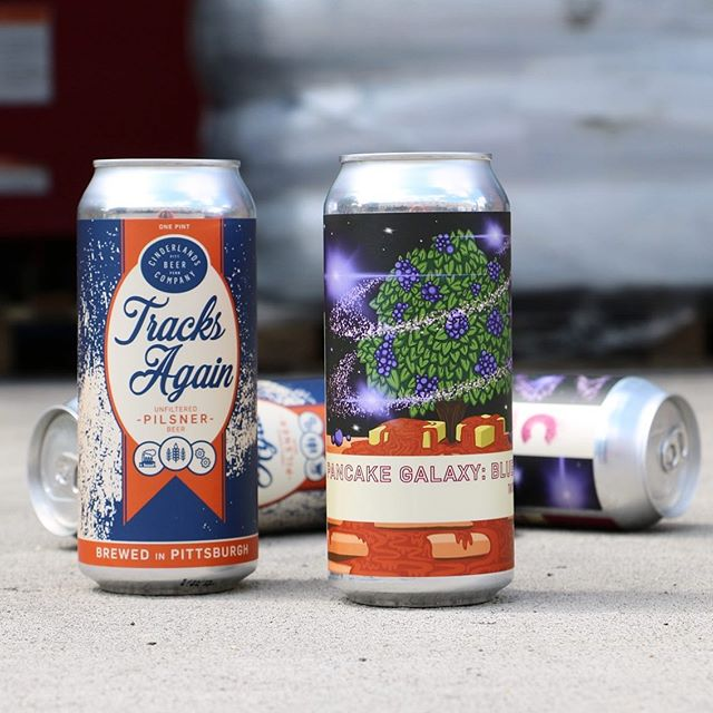 SURPRISE! Our first can release here at Cinderlands Warehouse is this Saturday 5/18 - Pancake Galaxy: Blueberry, Double Tartshake IPA AND Tracks Again, Pilsner - at #cinderlandswarehouse Stay tuned, as a third can may also be available 🍻 - Details on Facebook Events Page, link in bio. - The 4-packs will be for sale from the roll-up door on Smallman Street (to the right of @jeremymraymer's mural) when we open at 11:30am. See you Saturday! #cinderlandsbeer #cans #tartshake #pilsner