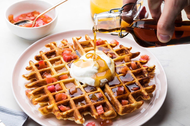 Charred Rhubarb Waffles