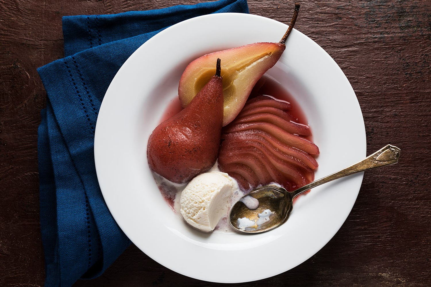 Sous-Vide Red Wine-Poached Pears
