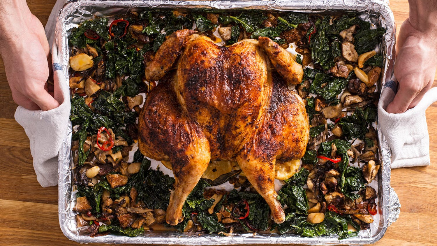 Sheet Pan Spatchcocked Chicken with Mushrooms and Kale