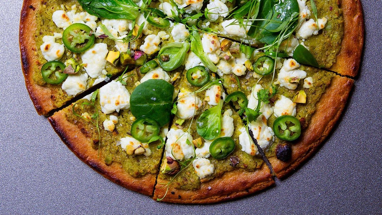 Socca Pizza with Fresh Chickpea Pesto