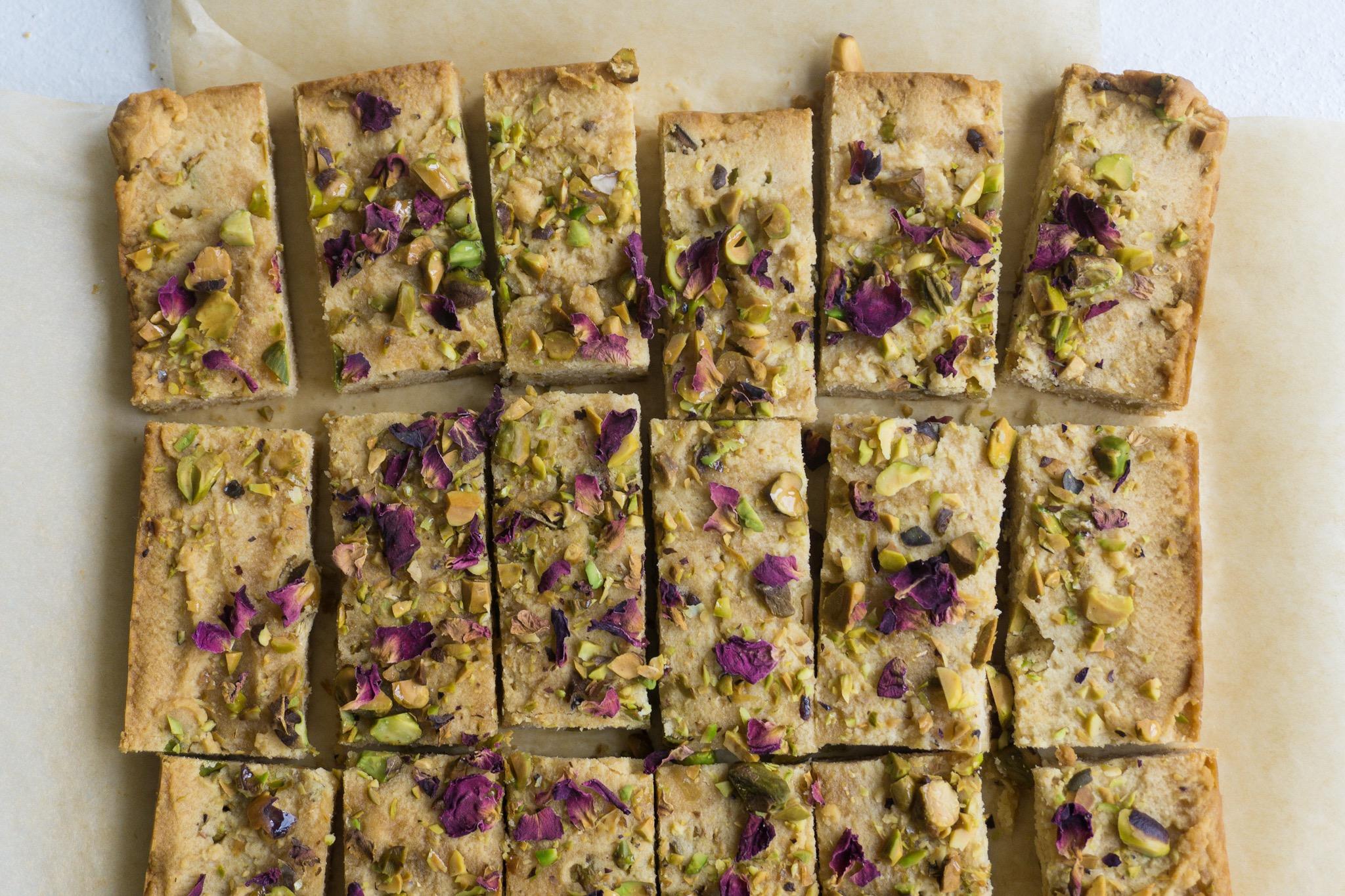Honey, Rose and Pistachio Shortbread Cookies