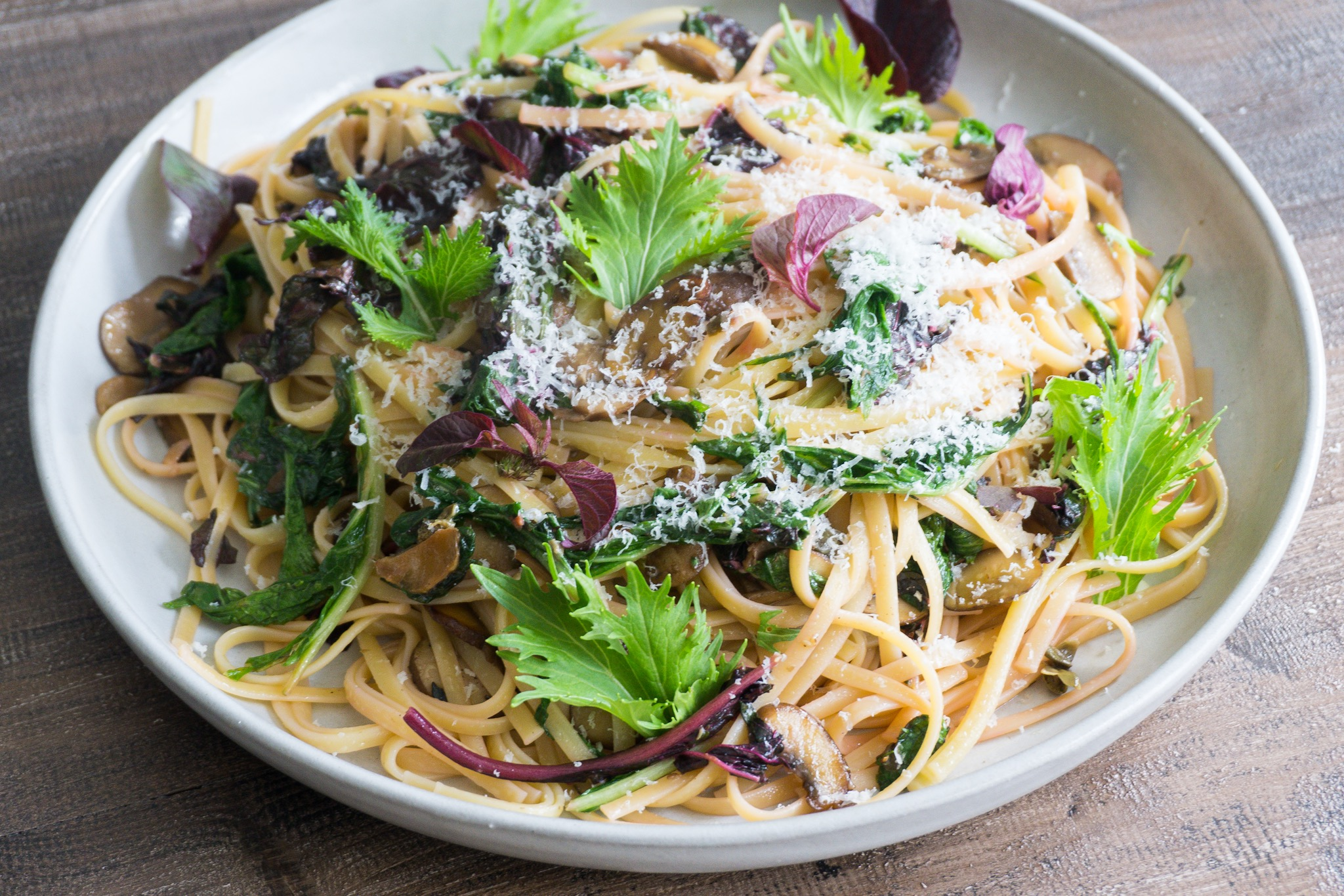 Linguine with Mushrooms and Greens