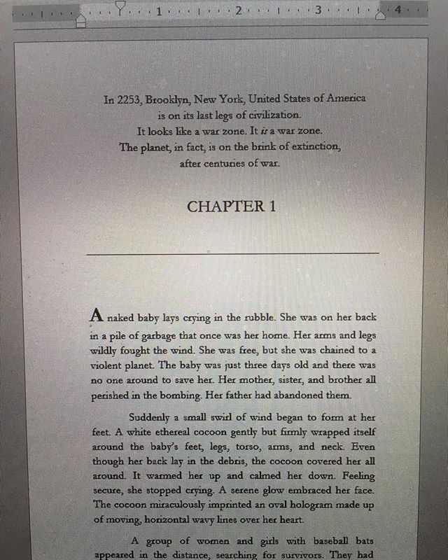 First page of Gogo Newgirl and Permanent Peace, my latest Sci-Fi Fantasy Thriller.  https://www.amazon.com/dp/B07W65N9KG