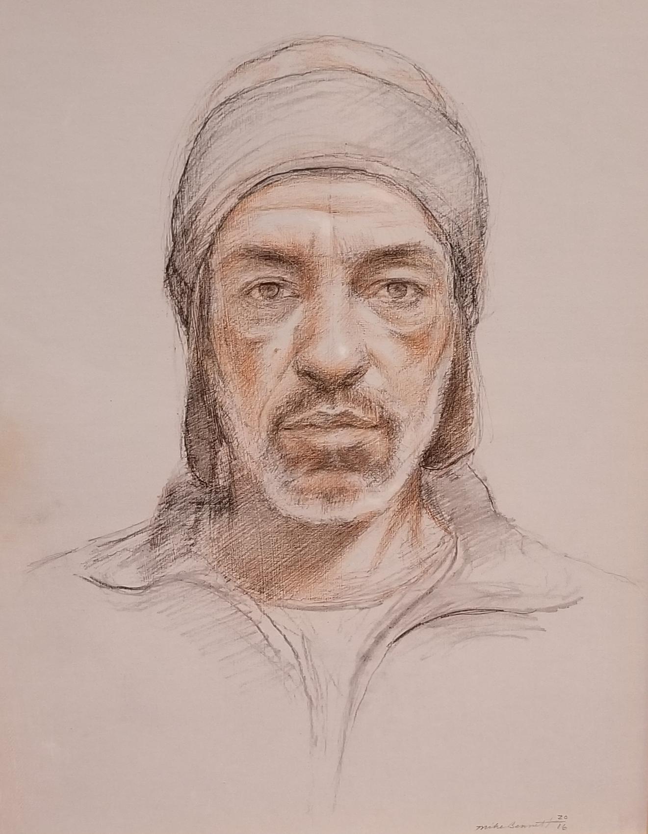 "Self Portrait  22"" x 14"" - charcoal & colored pencil"