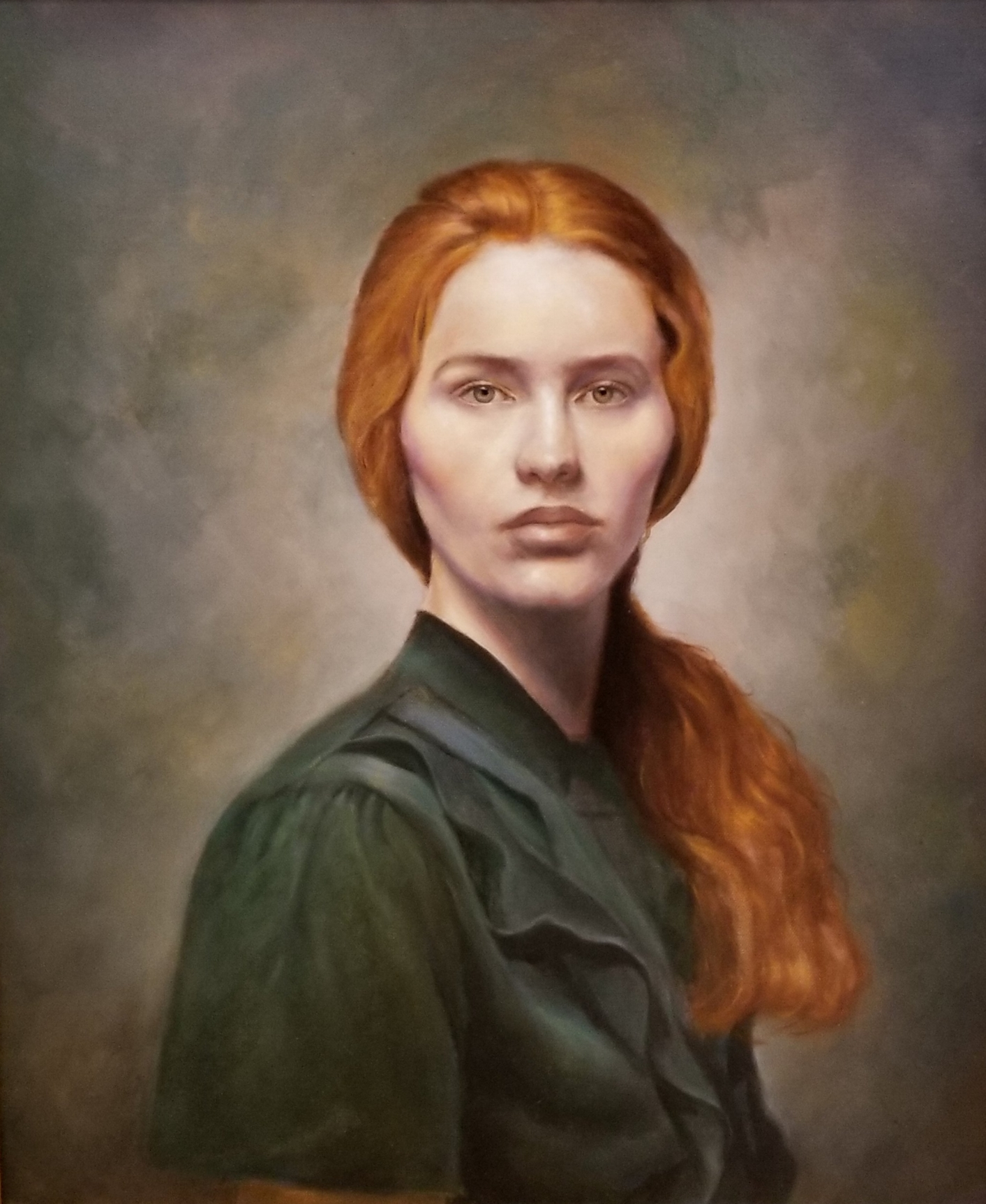 "Redhead in Green  18"" x 24"" - oil"