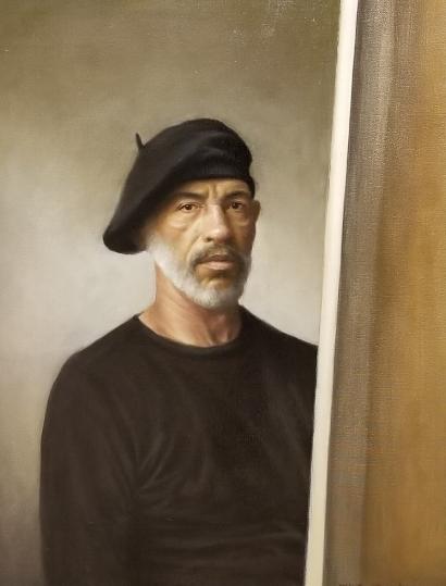 "Self Portrait in Black  22"" x 28"" - oil"