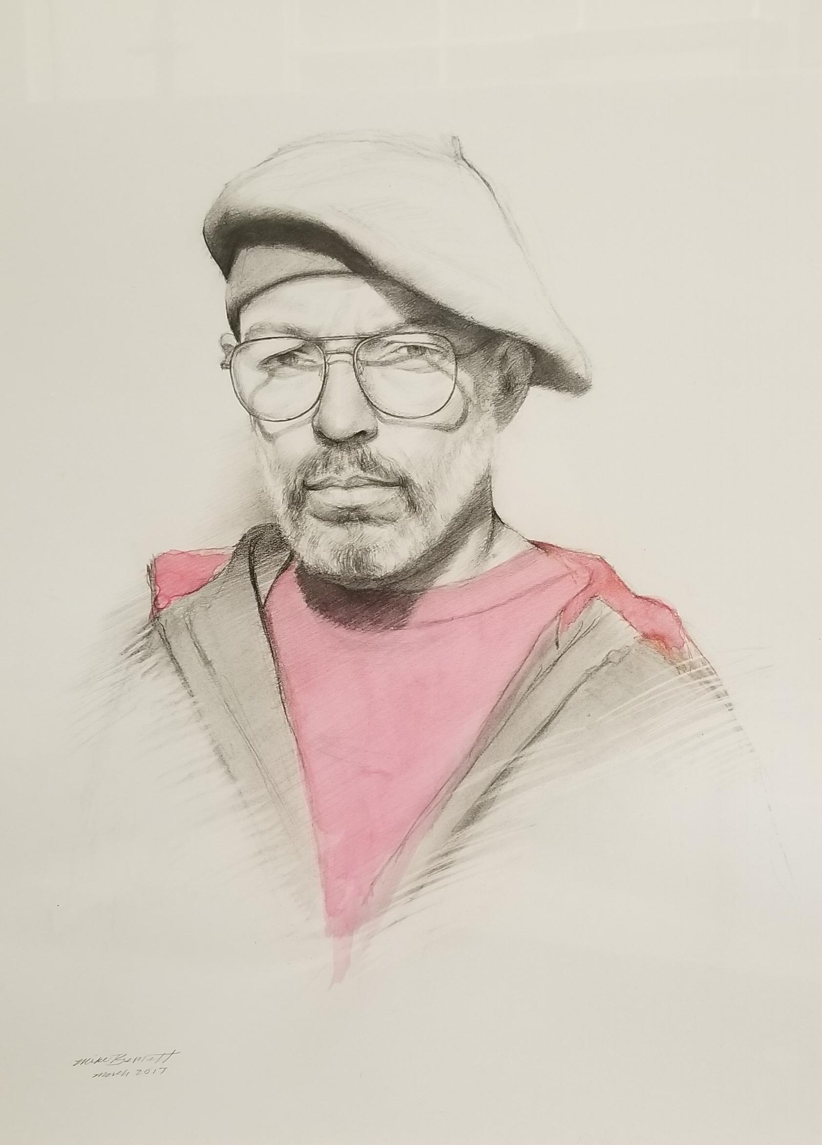 "Self Portrait  18"" x 21"" - charcoal & watercolor"