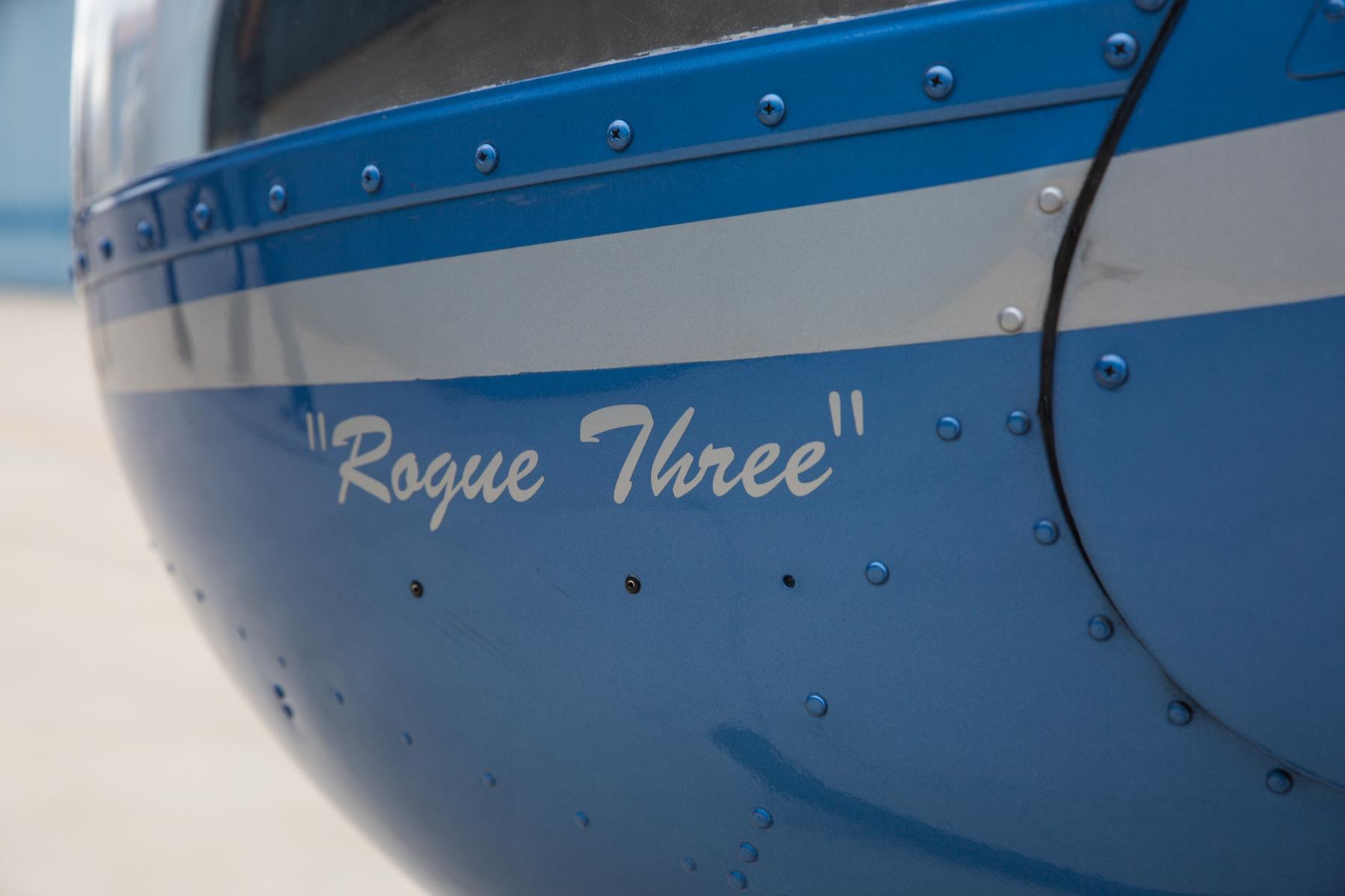 Rogue Three, aka Blue Steel - ◾️R22 Beta II.◾️Seats two.◾️Lycoming O-360-B2C piston engine.◾️Maximum Gross Weight: 1370 lb.◾️Great for training.