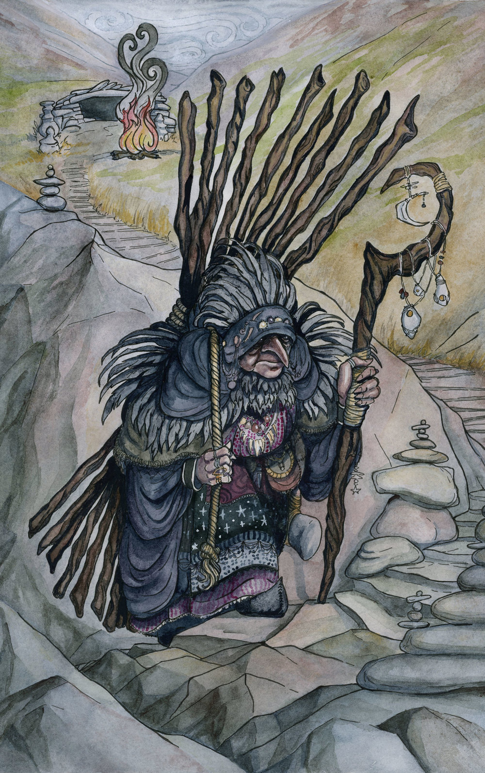 - The CailleachCreated for the 78 Tarot deck, MythicalPublisher: 78 Tarotwatercolor, ink, gouache