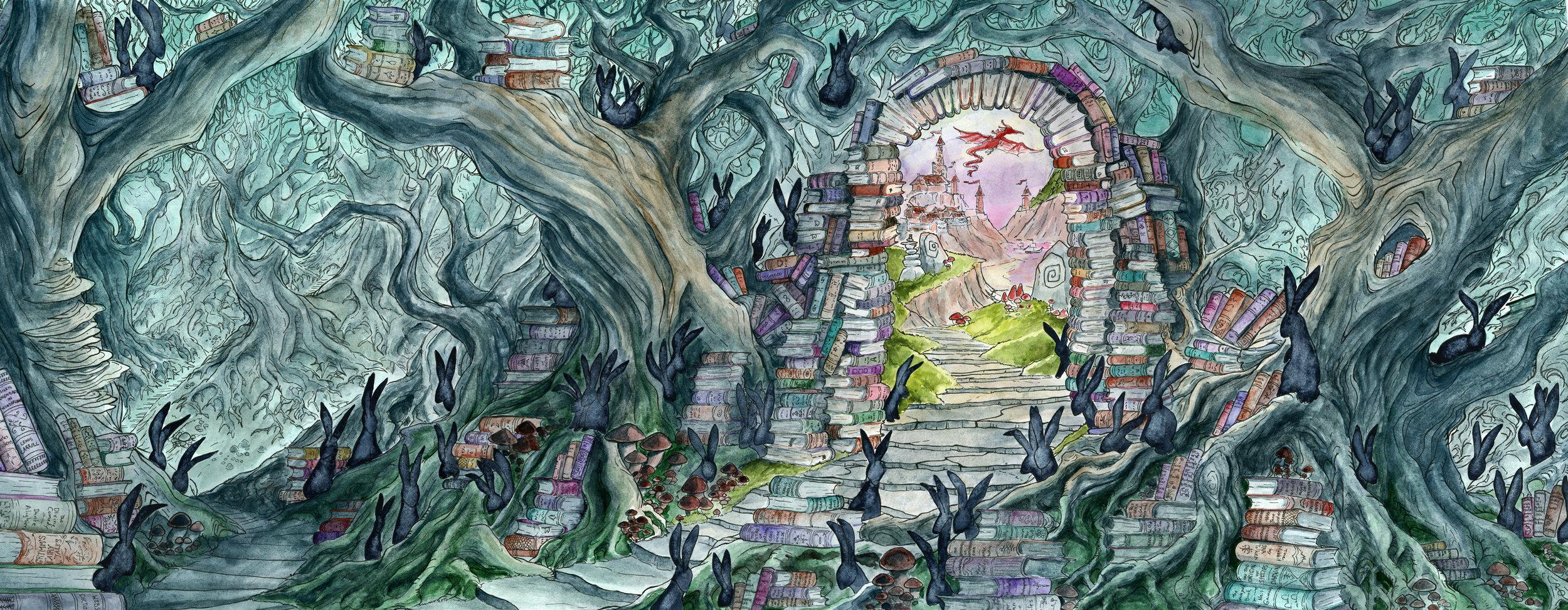 - PortalPromotional Illustration for the Detroit Festival of Bookswatercolor, ink, gouache