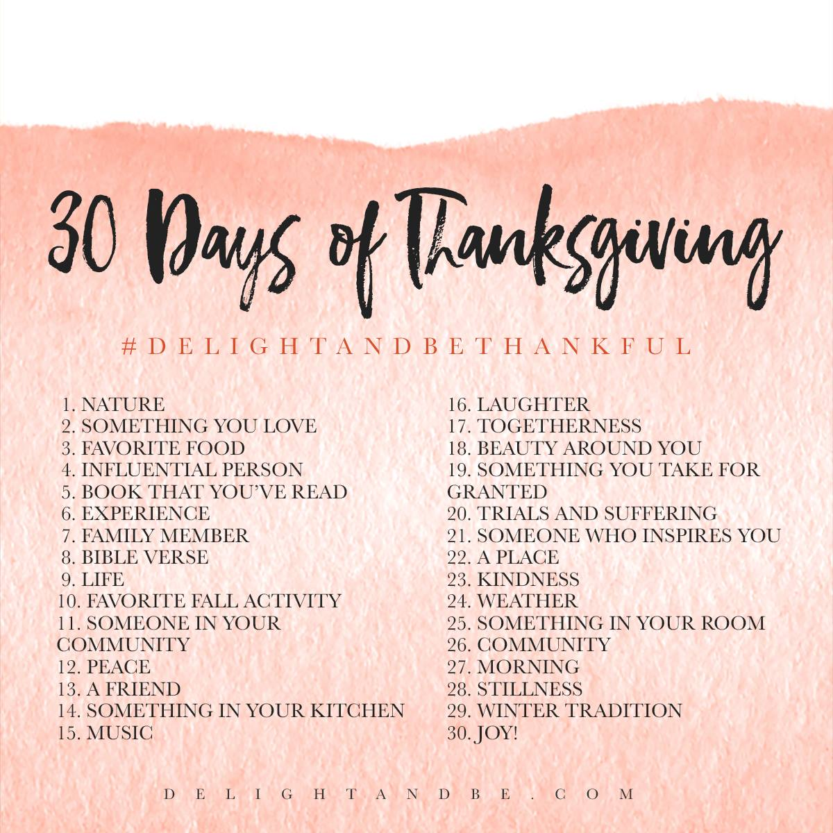 """""""Delight & Be Thankful"""" 30 Day Challenge 