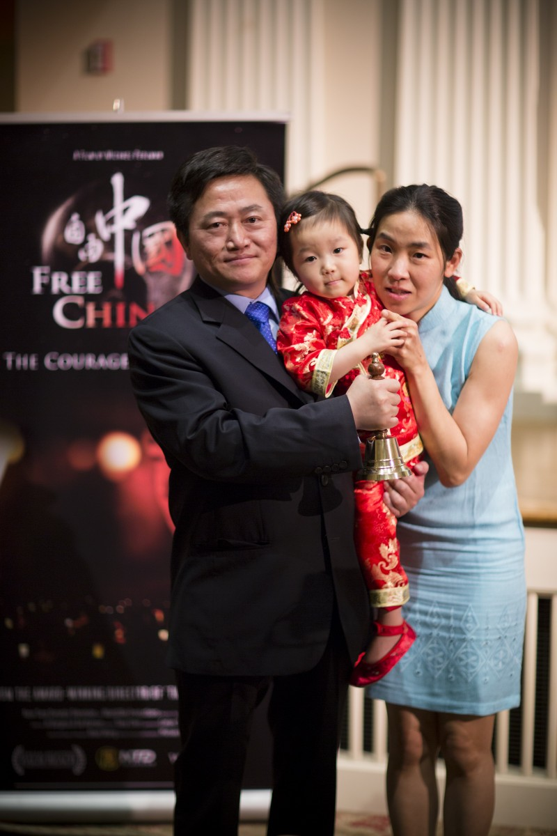 Charles Lee with wife and daughter (Edward Dai/The Epoch Times)