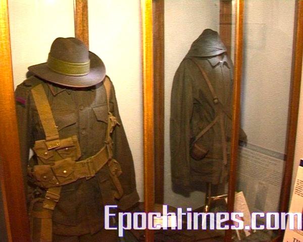 博物館中收藏的一戰時期士兵的軍衣