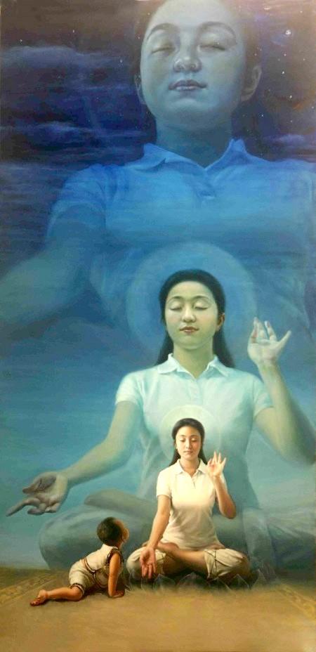新唐人第三屆「全世界華人人物寫實油畫大賽」金獎作品《眼裡的媽媽(又名純淨入仙境)》。畫家陳肖平表示,《眼裡的媽媽(又名純淨入仙境)》的創作靈感完全來自於《轉法輪》這本書。作為一個法輪大法的修煉者,她從書中知道六歲以下的小孩天目是開的,因此可以看到另外空間的景象。