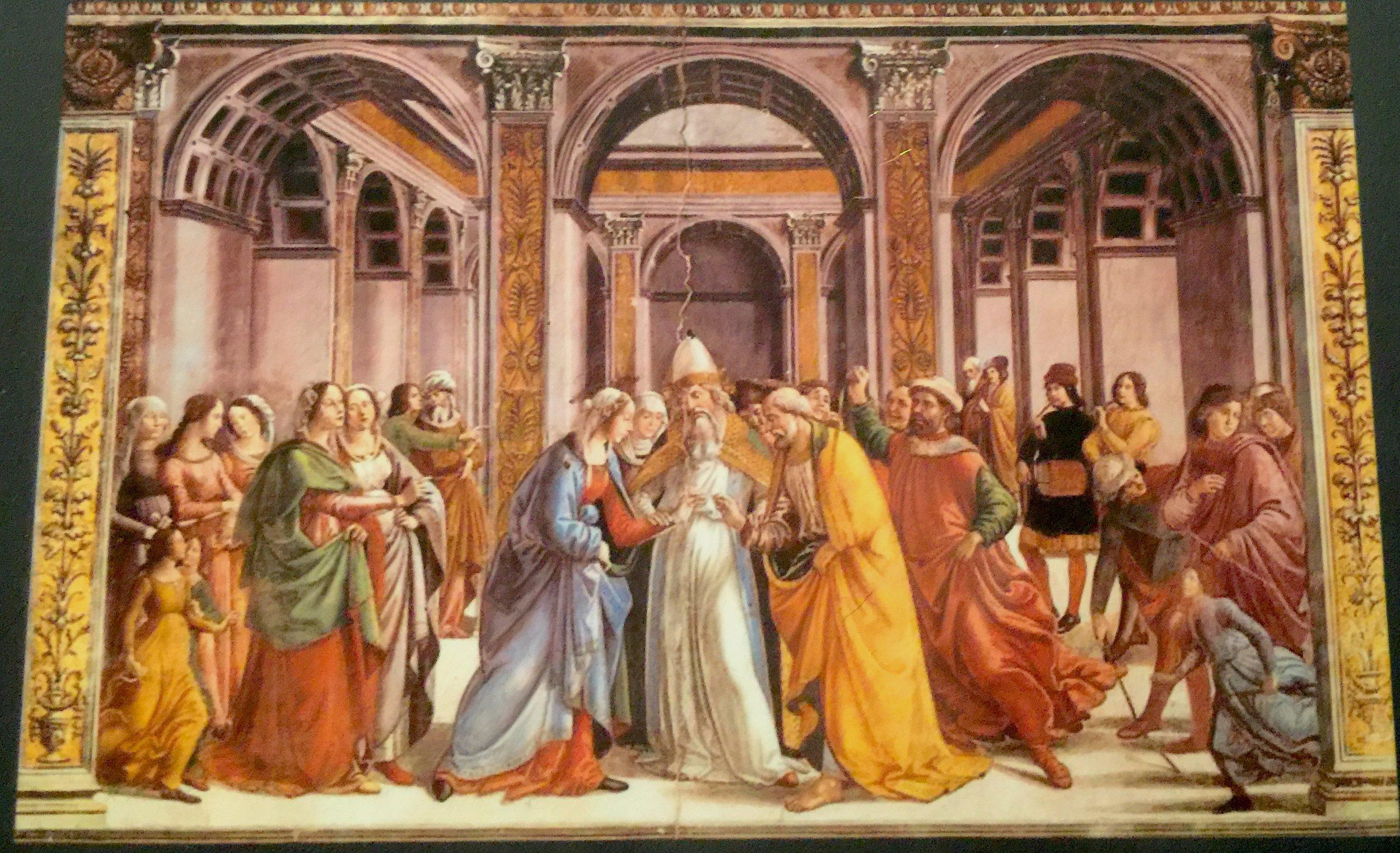 Domenico Ghirlandaio, Marriage of the Virgin, ca. 1485-90. Fresco.壁畫《聖母的婚禮》