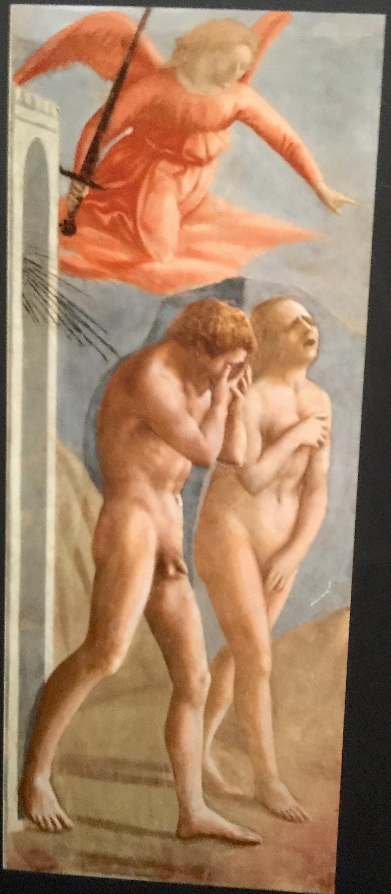 馬薩其奧 ﹝Masaccio﹞﹝l401 ~ 1428﹞濕壁畫「 亞當被逐出伊甸園 」。布蘭卡契禮拜堂,佛羅倫斯﹝Florence﹞,義大利