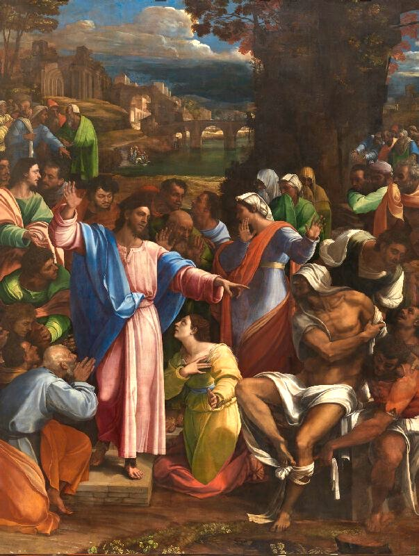 The Raising of Lazarus 祭壇畫「拉撒路的復活」  此畫現存於倫敦國立美術館。  1517-19, Sebastiano del Piombo incorporating designs by Michelangelo   The subject of this painting is taken from the New Testament (John: 11). At the request of the sisters  Martha and  Mary , Jesus visits the grave of their brother Lazarus and raises him from the dead.  This work was painted for Cardinal Giulio de' Medici in Rome in competition with  Raphael's 'Transfiguration', now in the Vatican Gallery. It was subsequently taken to the Cathedral of Narbonne. Some of the main figures are based on drawings which  Michelangelo supplied for the guidance of Sebastiano.  The painting was purchased from the  Angerstein collection .  Artist  Sebastiano del Piombo incorporating designs by Michelangelo   Artist dates about 1485 - 1547  Full title The Raising of Lazarus  Date made 1517-19  Medium and support Oil on canvas, transferred from wood  Dimensions 381 x 289.6 cm  Inscription summary Signed  Acquisition credit Bought, 1824  Inventory number NG1  The National Gallery, London