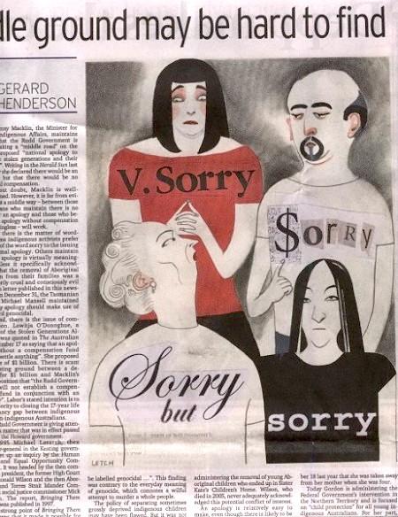 《悉尼晨鋒報》上的評論文章及政治漫畫,諷刺政府只說不「做(經濟賠償)」。