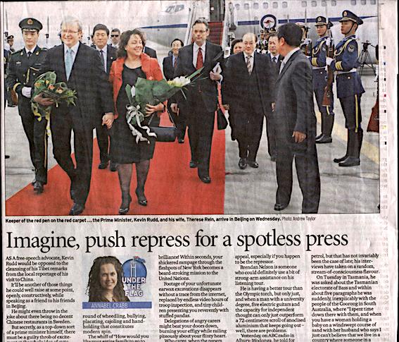 《悉尼晨鋒報》四月十一日評論文章:「想像一下,用壓制手段讓媒體毫無雜音(Imagine, push repress for a spotless press)」