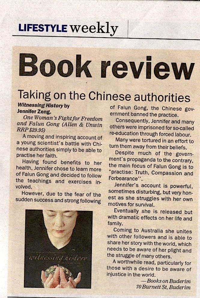 Book reviewon Buderim Weekly in Australia in May 2005
