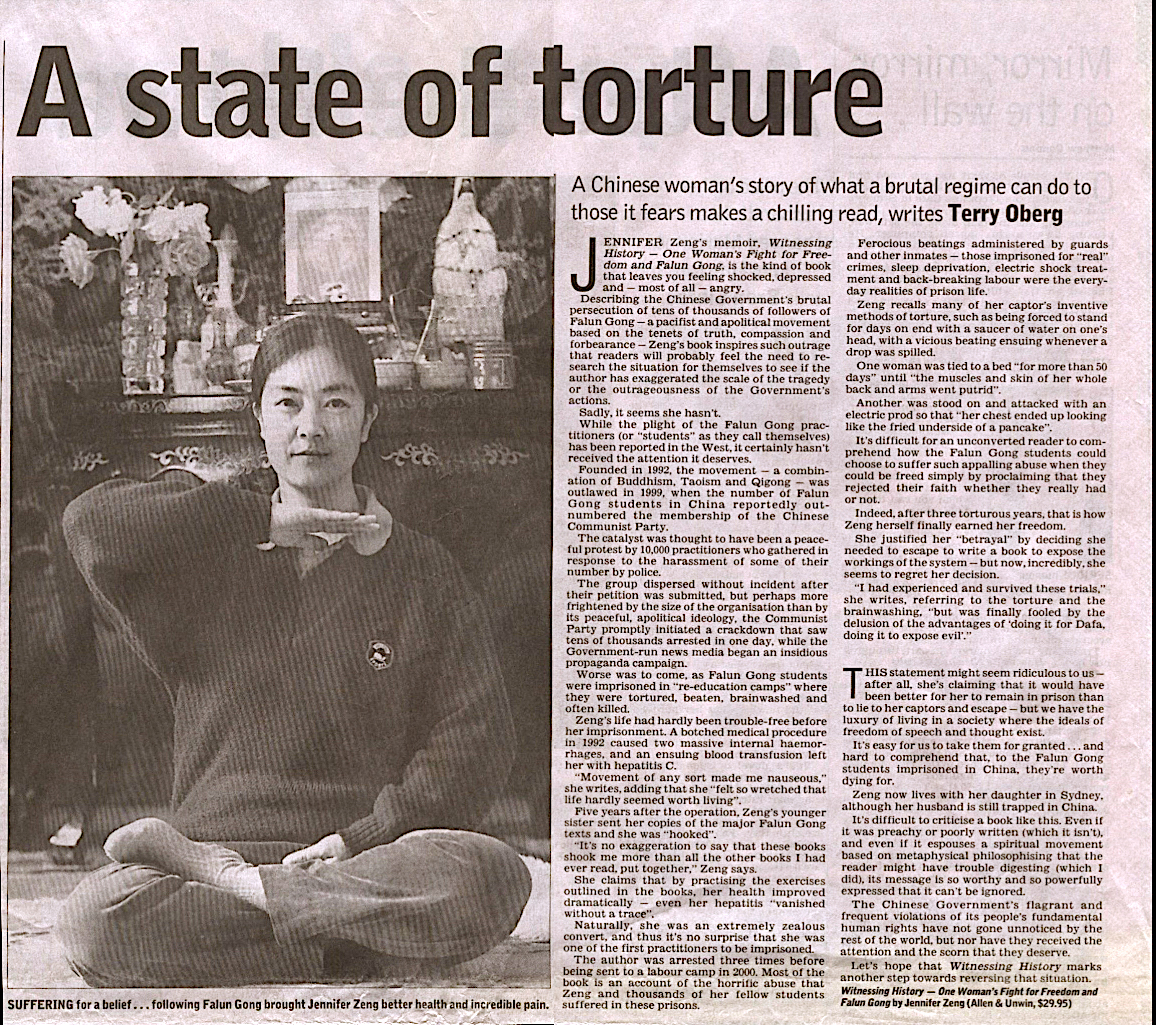 """A review of Jennifer's memoir by the """"Australian"""" newspaper. photo caption: Suffering for a belief…following Falun Gong brought Jennifer Zeng better health and incredible pain."""