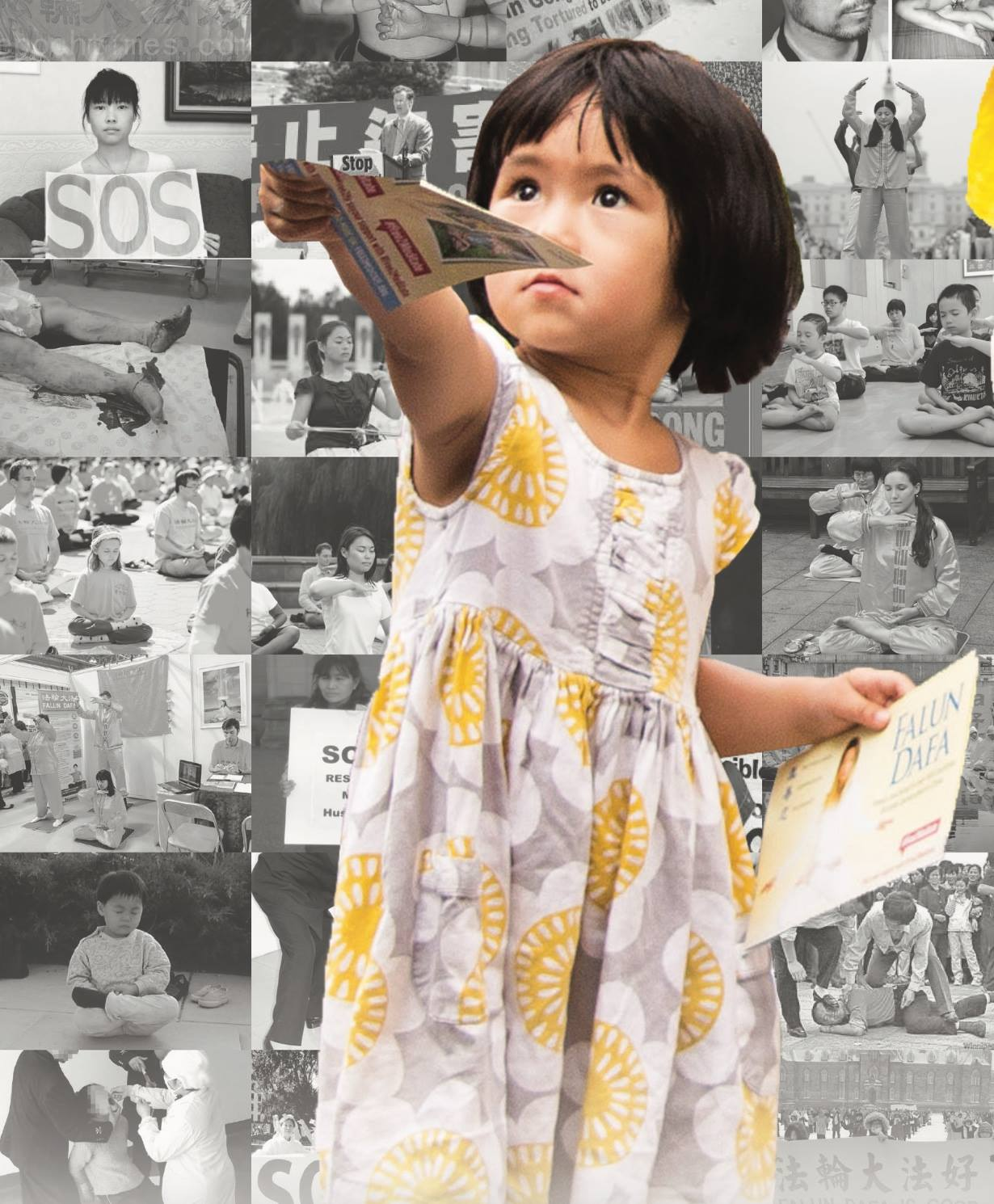 A young Falun Dafa (falundafa.org) disciple handling out a fly. 一名小法輪功學員在發傳單。圖片來源: 法輪功之友 Friends of FaLun Gong