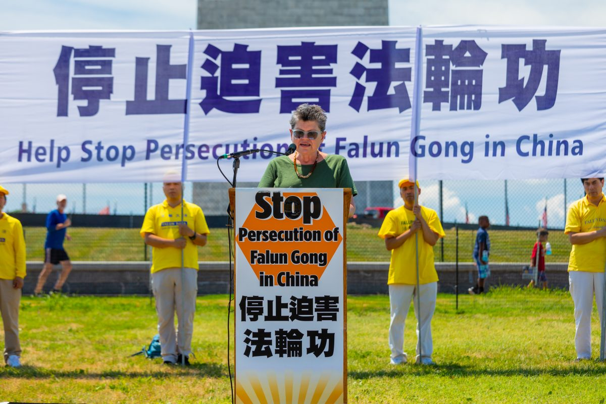 Faith McDonnell, Director for Religious Liberty Programs, Institute on Religion and Democracy, speaking a rally calling for the end of the persecution of Falun Gong, before the Washington Monument on Jully 19, 2018. (Mark Zou/Epoch Times)