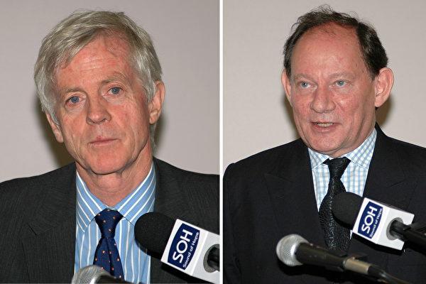 加國活摘器官獨立調查報告作者之一大衛.喬高(左)和歐洲議會副主席麥克米蘭-史考特。(大紀元胡宥華攝影)