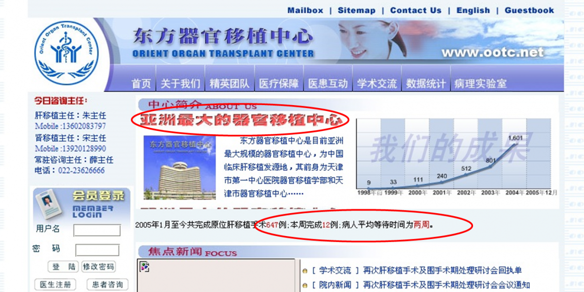 A screenshot from the website of the Tianjin First Central Hospital with a graph showing the annual number of liver transplants. (Screenshot/Tianjin First Central Hospital)