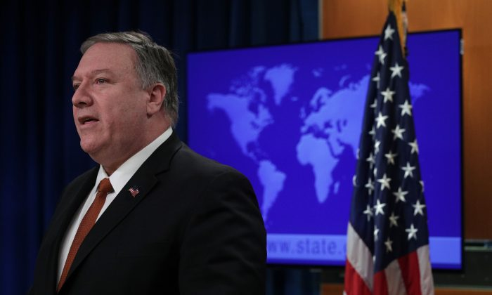 U.S. Secretary of State Mike Pompeo speaks on the release of the 2018 Country Reports on Human Rights Practices in the press briefing room of the State Department in Washington on March 13, 2019. (Alex Wong/Getty Images)