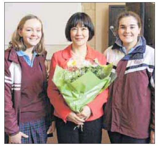SHARING HER STORY: Galen College year 11 students Amelia Walton and Meg Amery with human rights campaigner Jennifer Zeng. PHOTO: Mal Webster