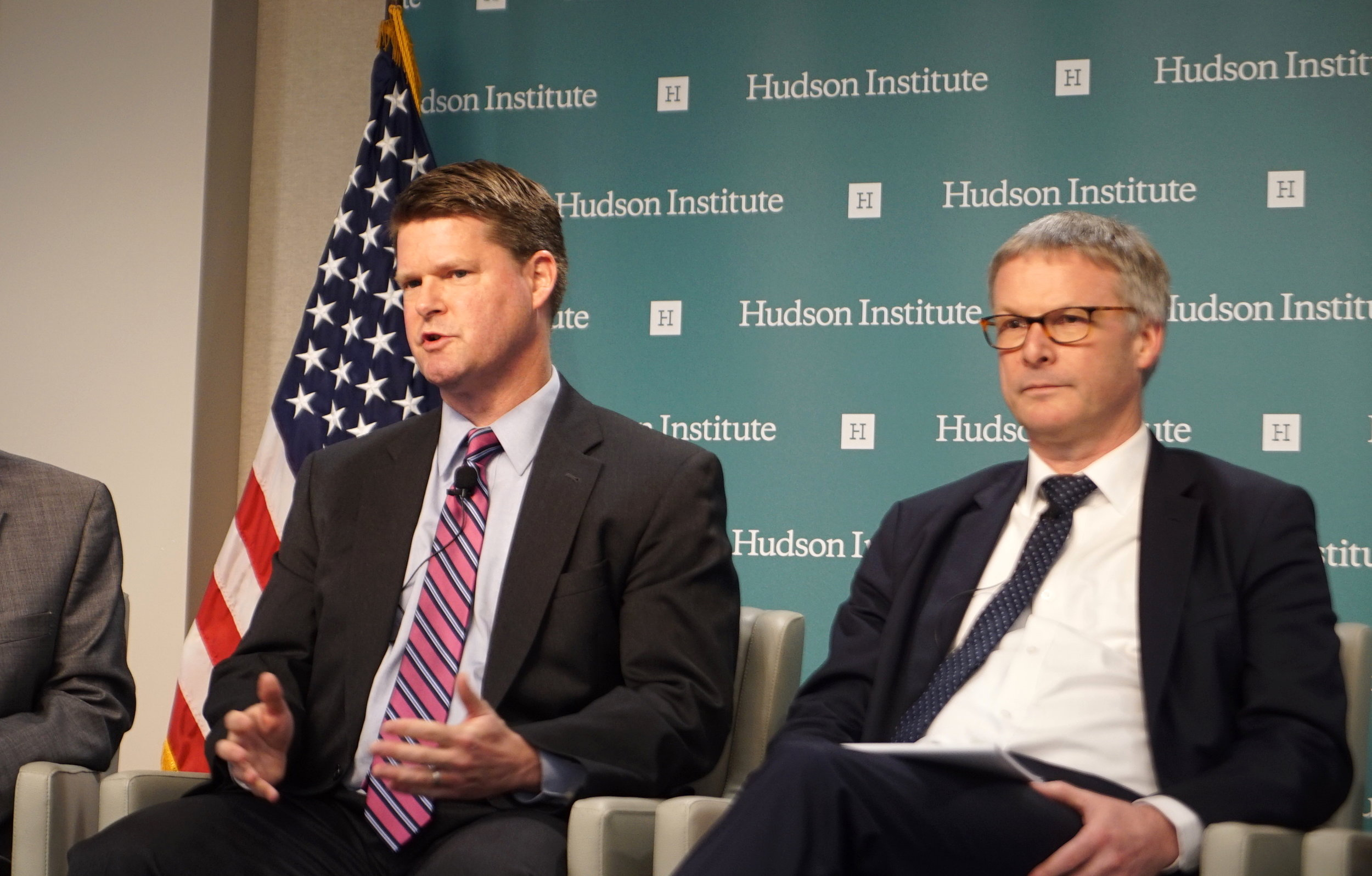 (L-R) Randall Schriver, Assistant Secretary of Defense for Indo-Pacific Security Affairs and Jeppe Tranholm-Mikkelsen, Secretary-General of the Council of the European Union at the Hudson Institute in Washington on April 16. (Jennifer Zeng/The Epoch Times)