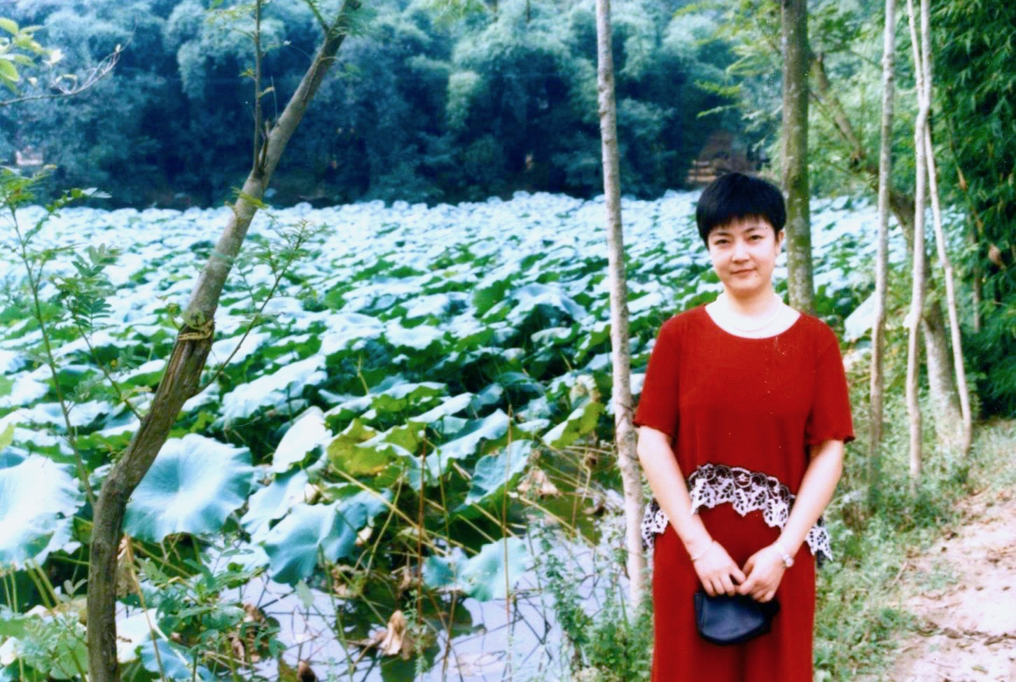 Jennifer at the lotus pond  in front of her grandfather's cottage in Zhongjiang, Sichuan Province in China in 1990's .   曾錚1990年代攝於四川中江縣朝中鄉老家荷塘邊。