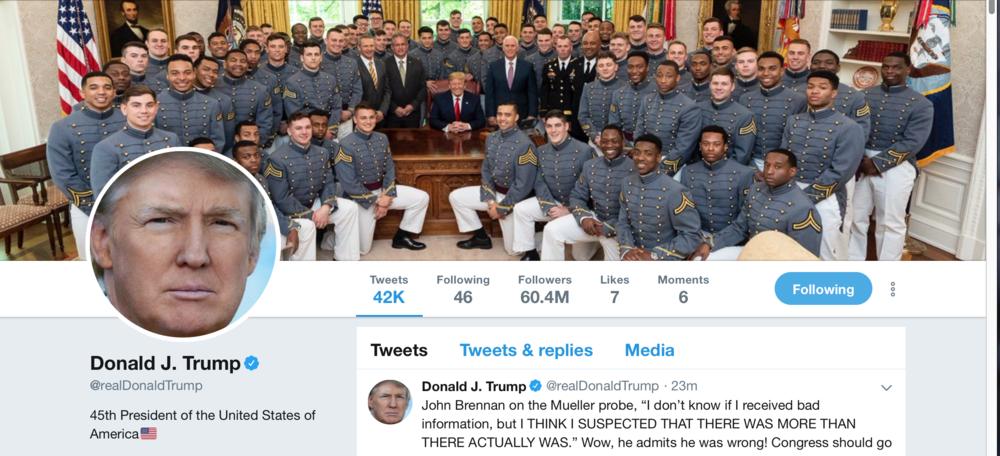 川普推特帳號截圖。2019年5月21日,他的關注人數已經超過六千萬。
