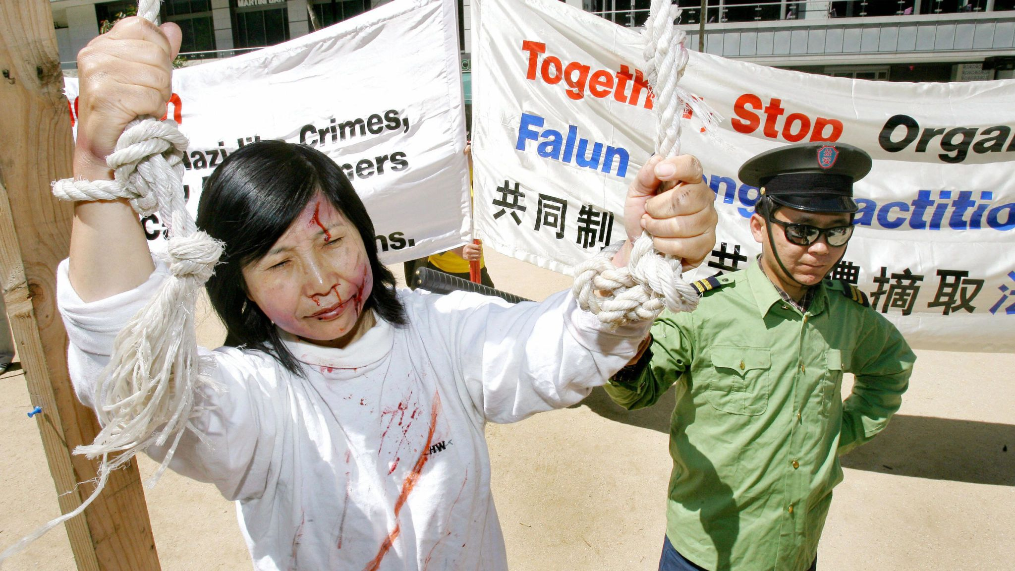 Falun Gong members have protested around the world against the harvesting of organs