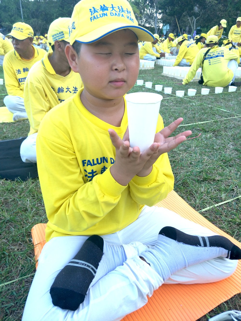 Mingyuan, Ma Xiaoqin's younger son, at a Falun Gong event in Indonesia on May 13, 2019 (Courtesy Ma Xiaoqin)