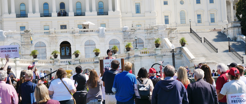 "Jennifer speaks at  ""Stop Socialism Choose Freedom"" rally at Washington DC on Sep. 19, 2019. Credit: Sound of Hope Radio."