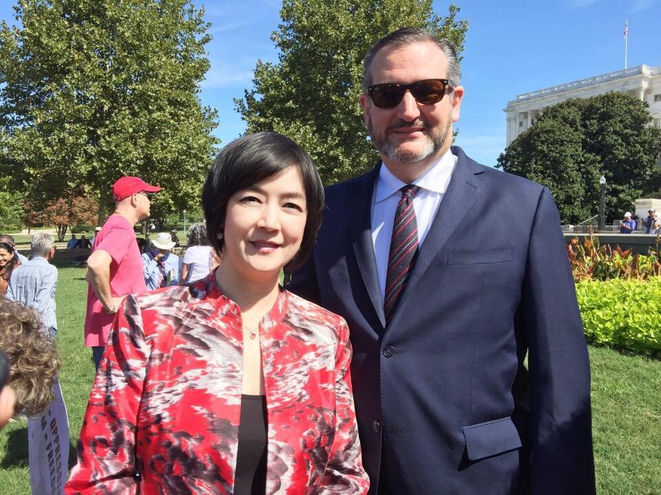 "Jennifer with Senator Ted Cruz at the  ""Stop Socialism Choose Freedom"" rally at Washington DC on Sep. 19, 2019."