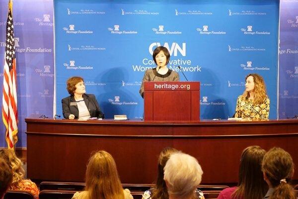 "Jennifer giving a speech ""China Held Me Prisoner: How I Survived"" at  the Heritage Foundation  on October 4, 2019. (Photo credit: Sound of Hope Radio)"